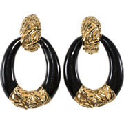 Ciner Black Enamel Door Knocker Earrings