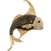 Ciner Rhinestone Fish Brooch