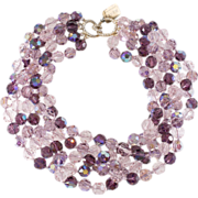 Ciner Purple Crystal Bead Torsade Necklace