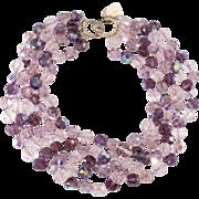 Ciner Purple Crystal Bead Torsade Necklace