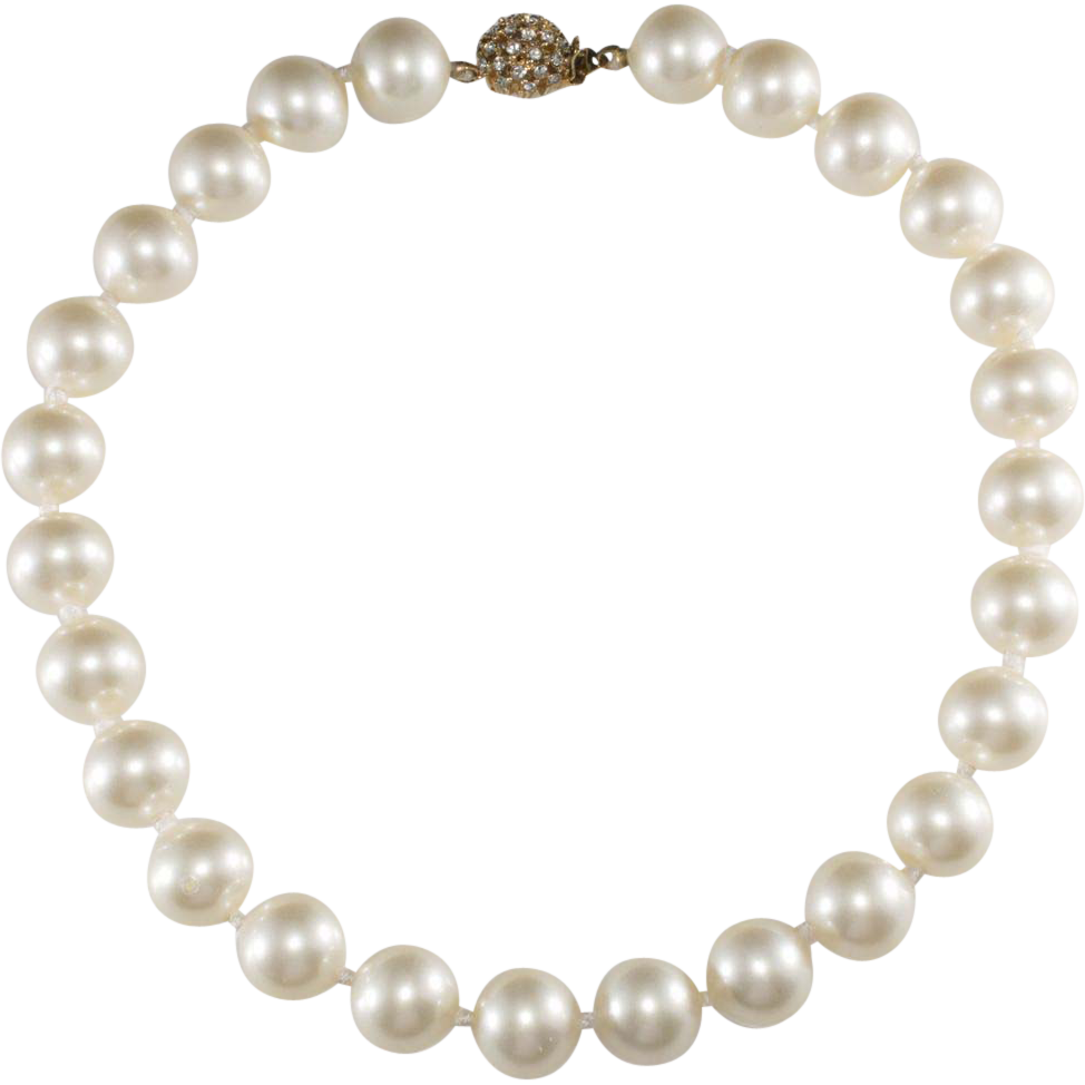 Ciner Large Pearl Necklace w/ Rhinestone Clasp