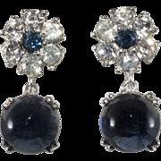 Ciner Sapphire Blue Rhinestone Dangle Earrings