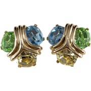Ciner Blue Green & Yellow Rhinestone Earrings