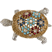 Ciner Turtle Rhinestone Brooch Pin Vintage