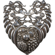 Cini Sterling Gemini Twins LARGE Heart Brooch Pin