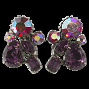 SALE Claudette Purple & Red Rhinestone Earrings