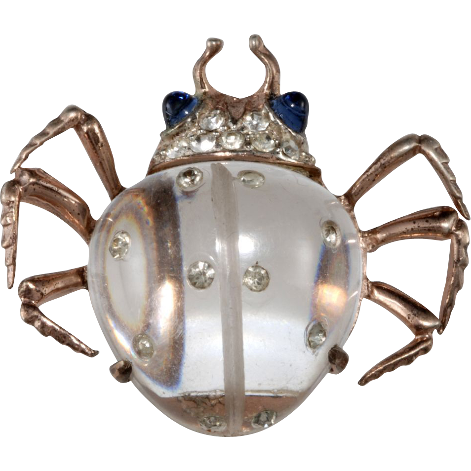 Coro Jelly Belly Sterling Rhinestone Beetle Insect Brooch Clip