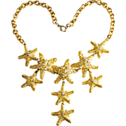 CRAFT Starfish Rhinestone Bib Necklace