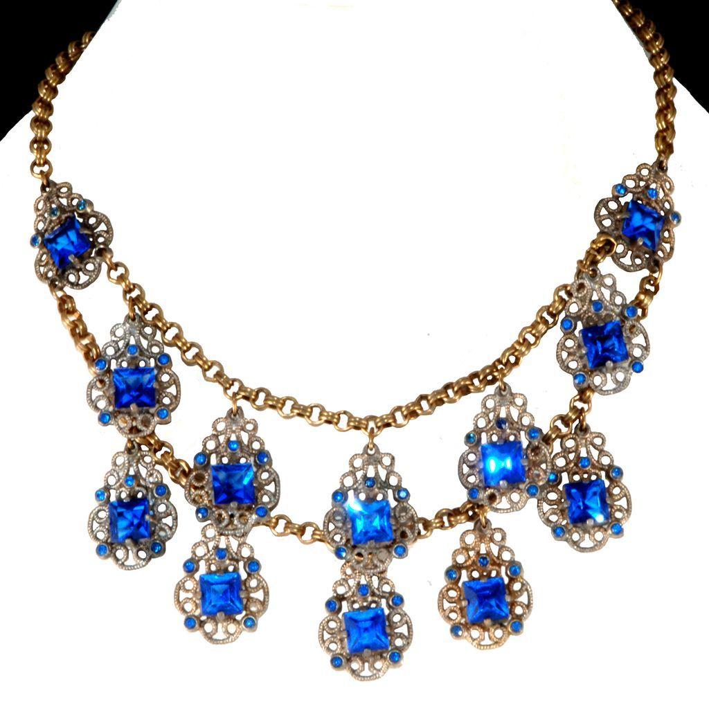 1930s Blue Rhinestone Dangle Necklace