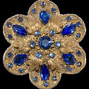 1930s Czech Filigree Blue Rhinestones Brooch Pin