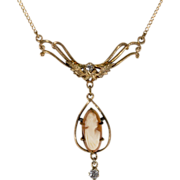 14K & Diamond Cameo Lavalier Necklace