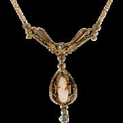 14K & Diamond Cameo Lavalier Necklace