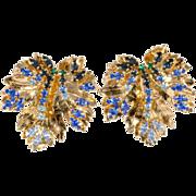 Roger Jean Pierre for Dior Blue Rhinestone Earrings