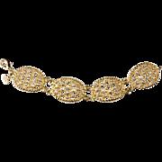 Christian Dior Rhinestone & Gold Plate Bracelet