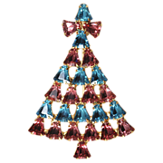 SALE Dominique Pink & Blue Rhinestone Christmas Tree Pin Brooch