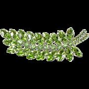 Dominique Green Rhinestone Leaf Brooch Pin