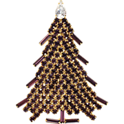 SALE Dominique Purple Rhinestone Christmas Tree Pin Brooch