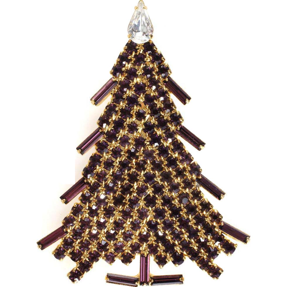 Dominique Purple Rhinestone Christmas Tree Pin Brooch