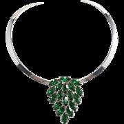 Emerald Green Rhinestone Dress Clip w/ Collar Necklace