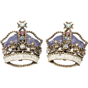 1950s Rhinestone Crown Earrings
