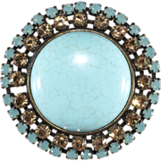 Francoise Montague Turquoise Blue Rhinestone Brooch Pin
