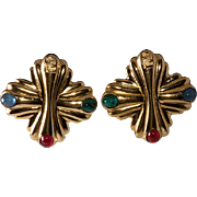 Fendi LARGE Zucca Logo Jewel Tone Earrings