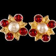 Philippe Ferrandis Red Glass & Pearl Earrings