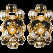 Monette of Paris Black Bead Faux Pearl Figure Eight Earrings