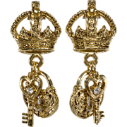 R.J. Graziano Lock Key & Crown Rhinestone Earrings