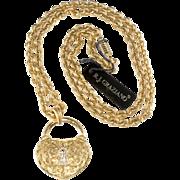 R.J. Graziano Heart Lock Rhinestone Pendant Necklace