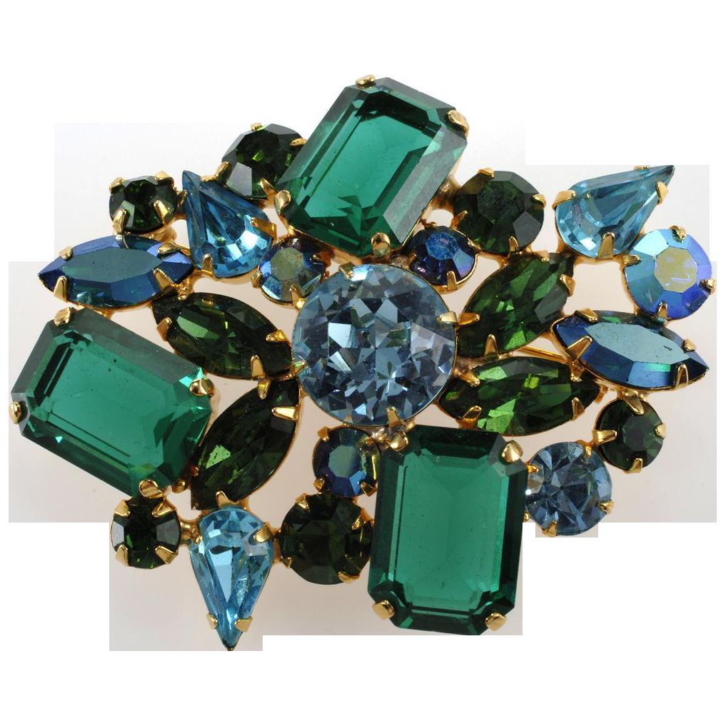 1950s Blue & Green Rhinestone Designer Quality Brooch Pin