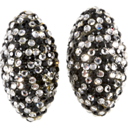 Barbara Groeger Black & Clear Rhinestone Earrings
