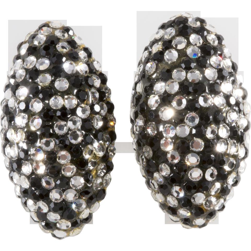 Barbara Groeger Black & Clear Rhinestone Earrings
