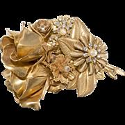 Stanley Hagler 1980s Rose Rhinestone Brooch Pin