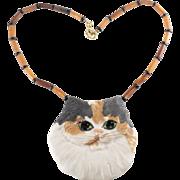 Carol Halmy Calico Cat Necklace