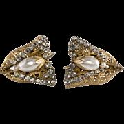 Haskell Half Bow Pearl Rhinestone Earrings