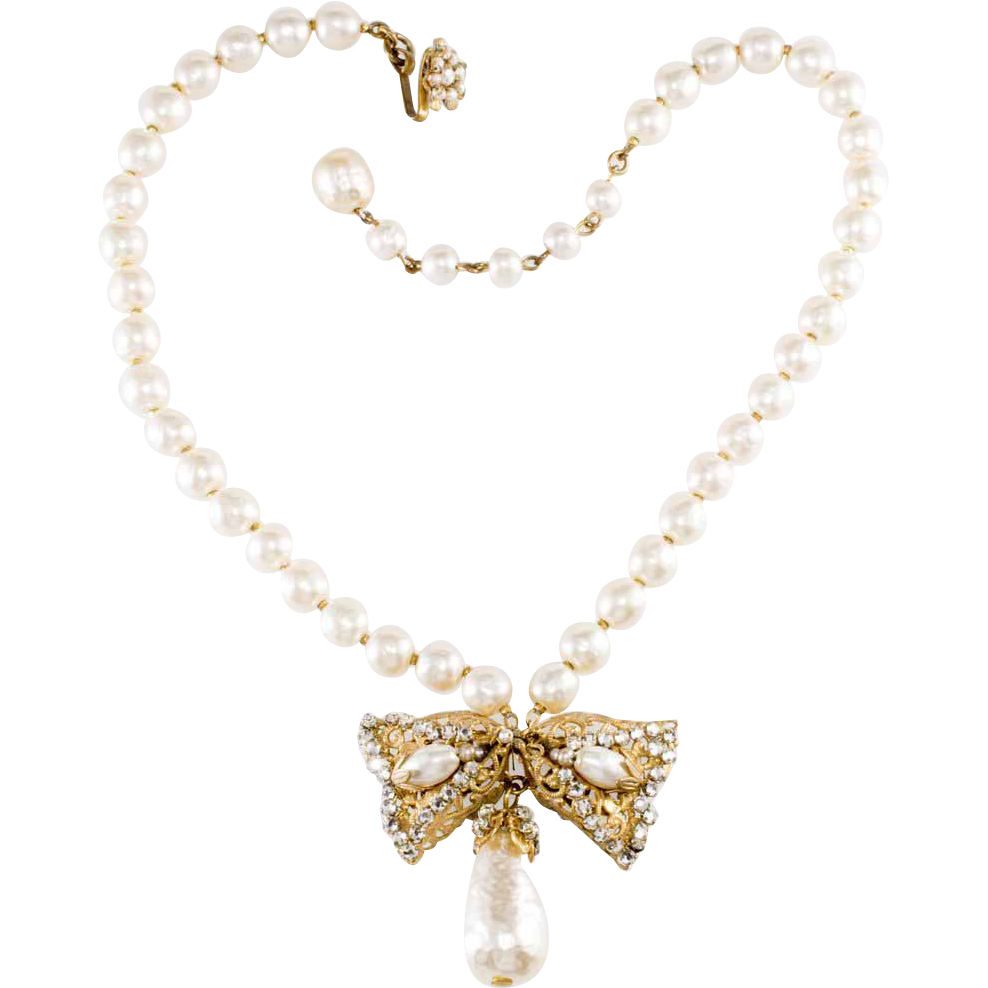 Miriam Haskell Filigree Bow Glass Pearl Necklace