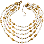 Miriam Haskell Five-Strand Crystal Filigree Necklace