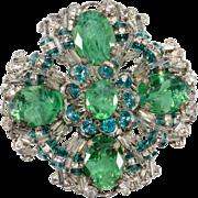 Miriam Haskell Emerald Green Rhinestone Brooch Pin Vintage