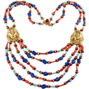 Miriam Haskell Egyptian Revival Beaded Bib Necklace