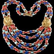 Miriam Haskell Egyptian Revival Beaded Bib Necklace