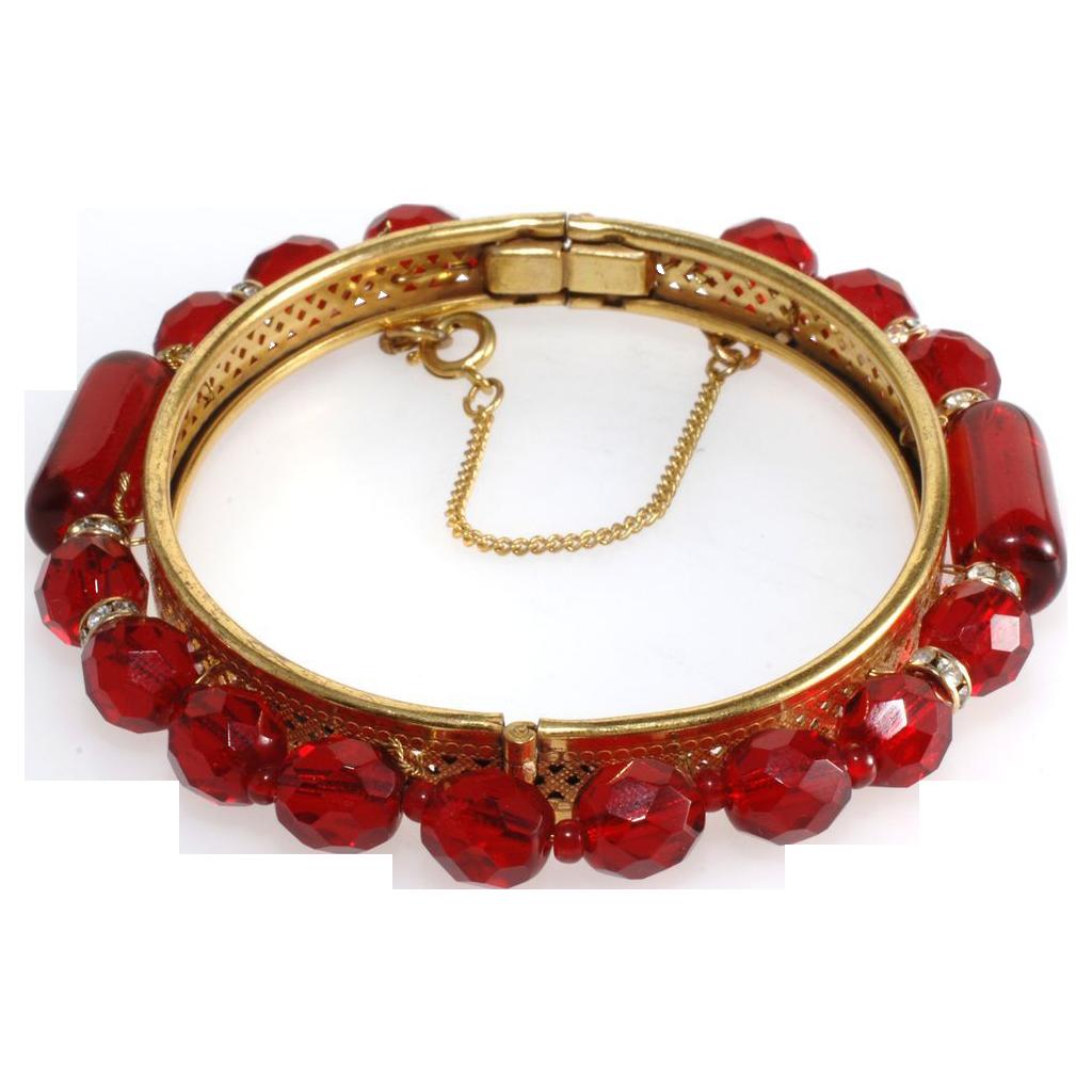 Miriam Haskell Red Bead & Rhinestone Bangle Bracelet