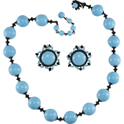 Miriam Haskell Turquoise Blue and Black Bead Necklace Earrings Set