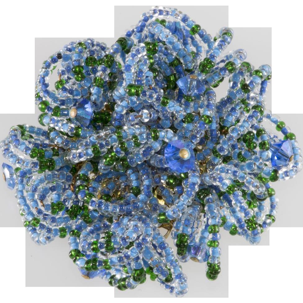 Hobé Blue Sea Urchin Beaded Brooch Pin