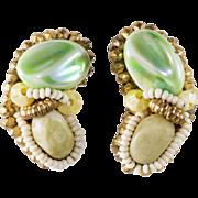 Hobe Green Beaded Cluster Earrings