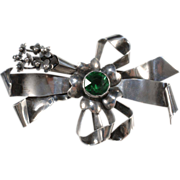 SALE Hobe' Sterling Bow Brooch w/ Green Rhinestone