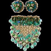 Hobe' Green Beaded Dangle Brooch Earrings Set Vintage 1960s
