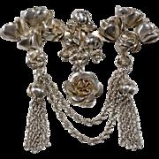 Hobe Sterling Rose & Tassel Brooch Pin