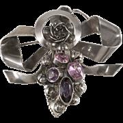 Hobe' Sterling Pink Purple Bow Brooch Pin 1940s