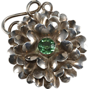 SALE Hobe' Sterling Flower Brooch w/ Green Rhinestone